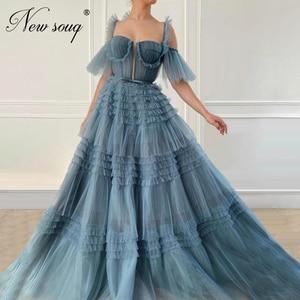 Tiered Tulle Prom Dress Spaghetti Strap Pageant Gowns Customized Dubai Evening Dresses Saudi Arabic Party Night Vestido De festa
