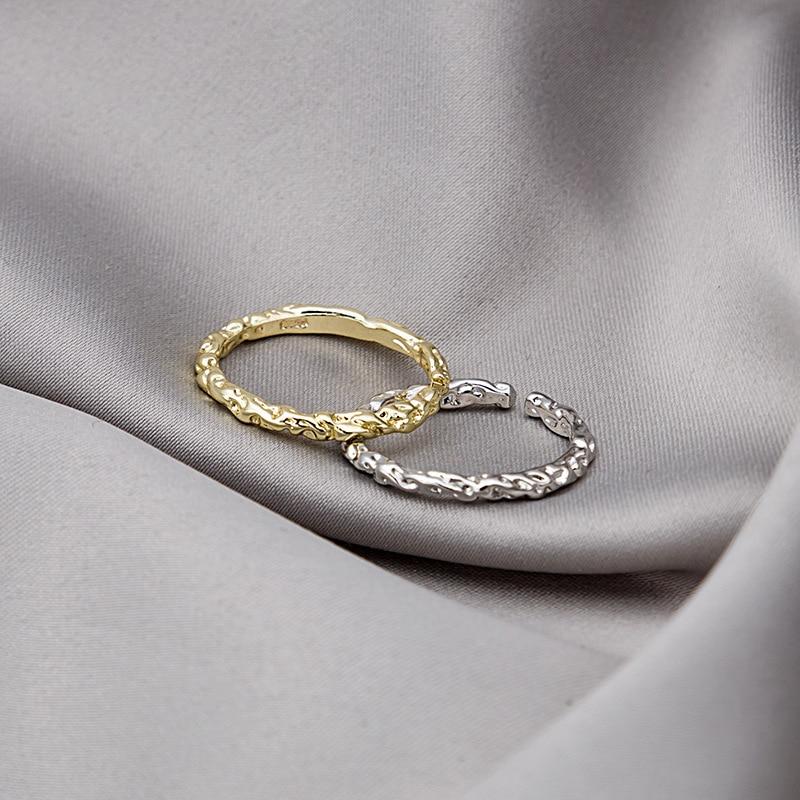Korean Retro Irregular Bump Metal Rings For Women Gold Silver Opening Simple Finger Ring Fashion Jewelry Wedding Female 2021 Hot
