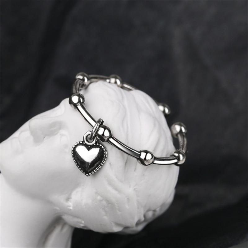 Oferta, cadena de cuentas con forma de corazón, anillo Vintage, estilo gótico, accesorios chapados en plata antiguos para regalo de mujer, joyería africana