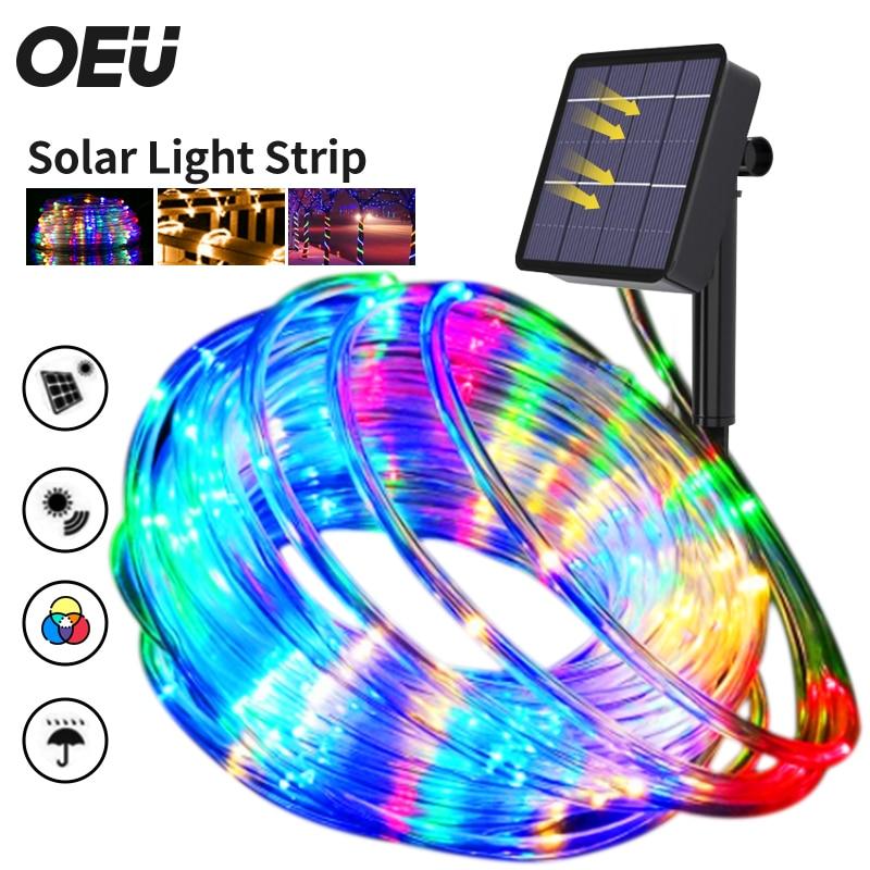 LED Strip for Garden Decoration Solar LED Light Outdoor Ribbon Tape Lighting Christmas Night Lights String Garland Festoon Neon