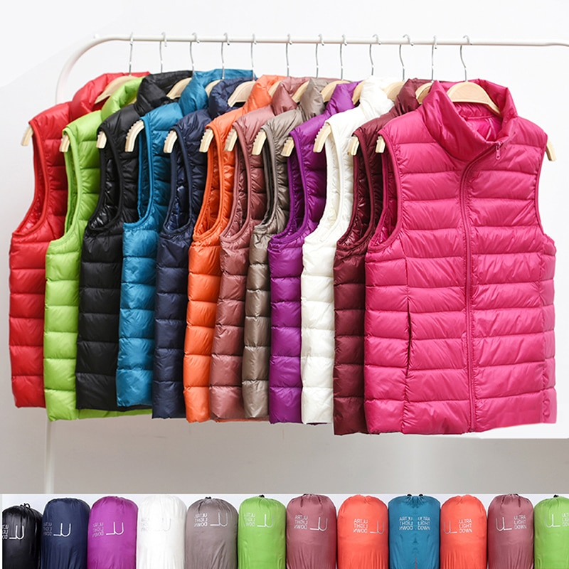 New Women Sleeveless Women's Ultra Light Down Vests Slim Jacket Girl Gilet Plus Lightweight Windproof Warm Waistcoat Portable