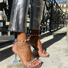 2021 summer new ladies sandals jelly high heel shoes rivet decoration