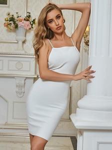 Women Sexy Sleeveless Backless White Bodycon Summer Bandage Dress 2020 Designer Elegant Evening Party Dress Vestido