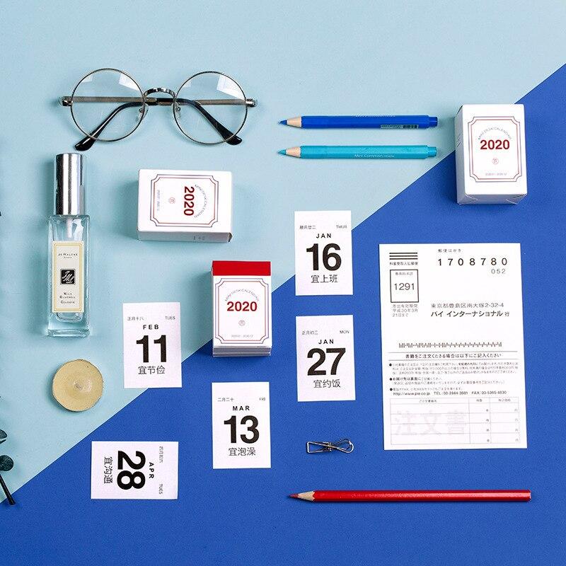 2020 lindos calendario diario planificador Mini Calendario de escritorio trabajo de oficina Calendario de notas de aprendizaje planificador periódico papelería