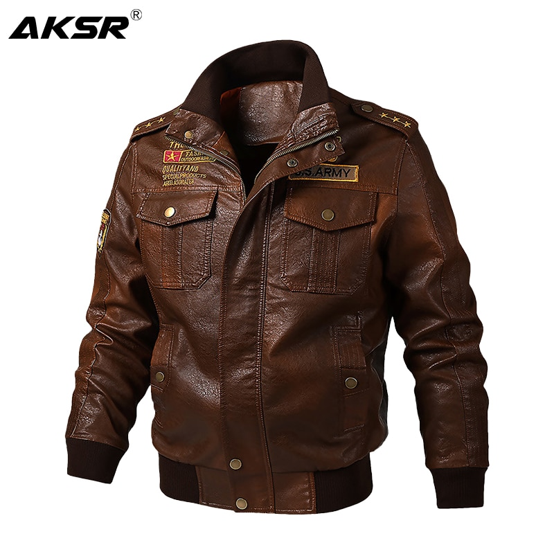 AKSR الخريف والشتاء الرجال سلاح الجو سترة جلدية زائد المخملية سميكة الدافئة سترة عالية جاكيت عالي الجودة بولي Leather جلد الرجال سترة