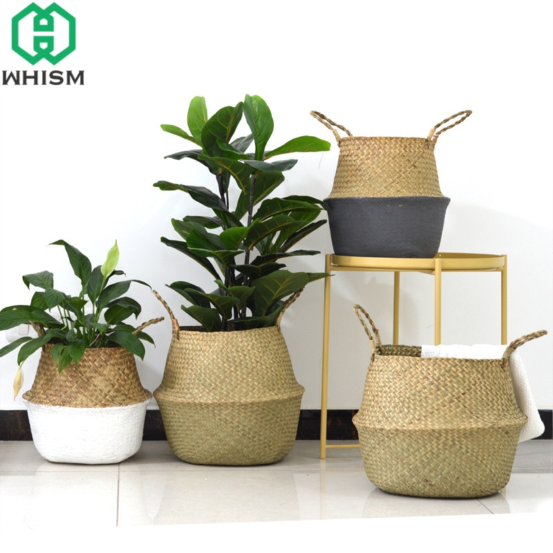 WHISM Storage Basket Rattan Straw Basket Wicker Folding Flower Pot Seagrasss Flower Baskets Garden Planter Flower Pot Decoration