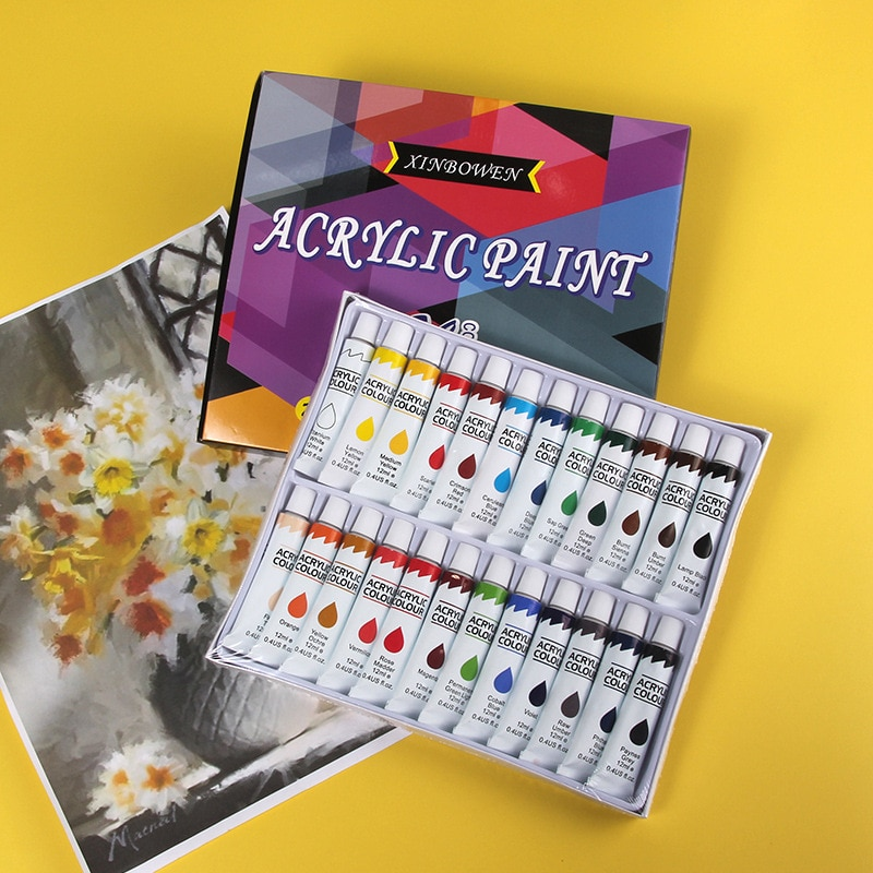 Acrylic Paints 24 Colors Professional Brush Set 12ml Tubes Artist Drawing Painting Pigment Hand Painted Wall Paint DIY