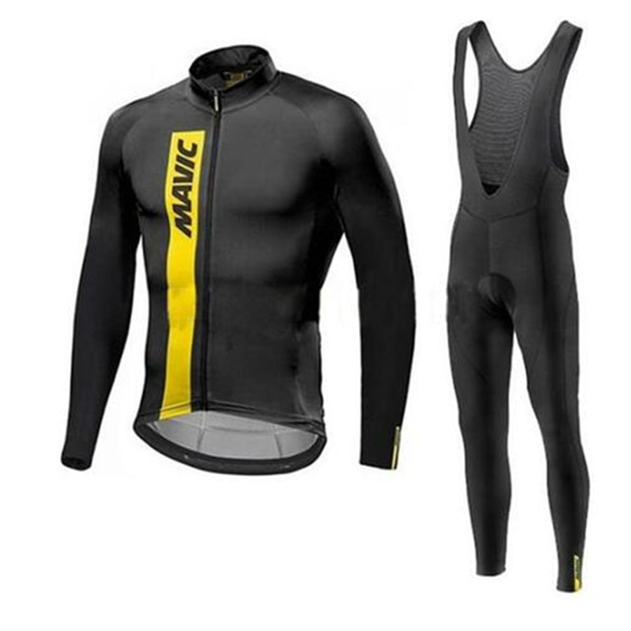 MAVIC men clothing 2019 winter fleece cycling maillot mtb long sleeve set ciclismo cycling long jersey set set bib trousers