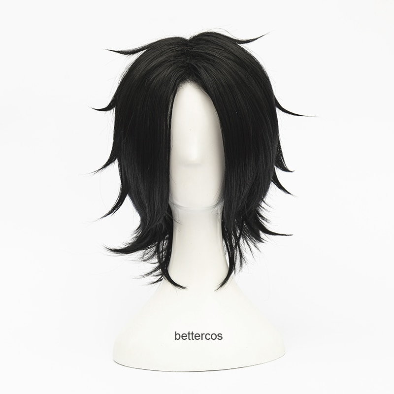 Portgas D. Ace Short Black Wig Heat Resistant Synthetic Hair Cosplay Wigs + Wig Cap