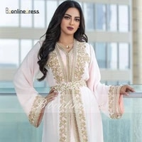bbonlinedress moroccan caftan evening dresses emboridery appliques muslim evening dress full sleeve arabic kafutan party dress