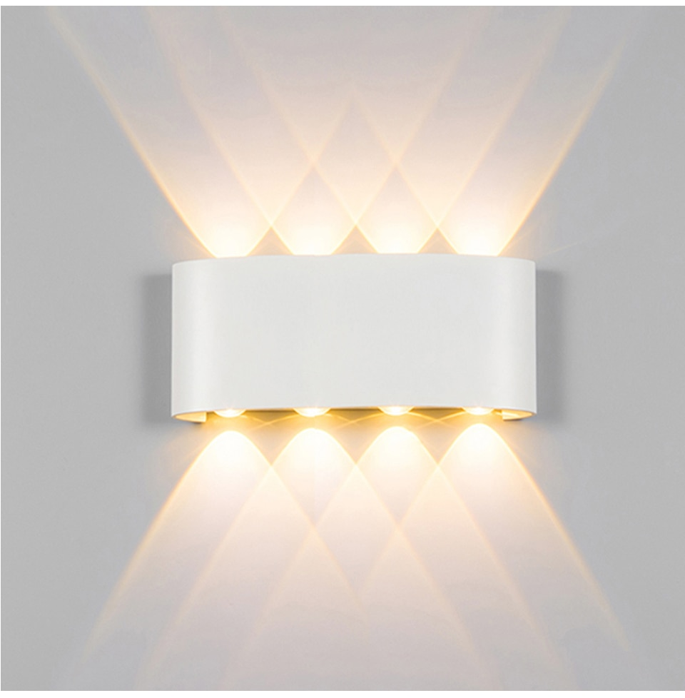 Wall Lamp Led Aluminum Outdoor Indoor Ip65 Up Down White Black Modern For Home Stairs Bedroom Bedsid