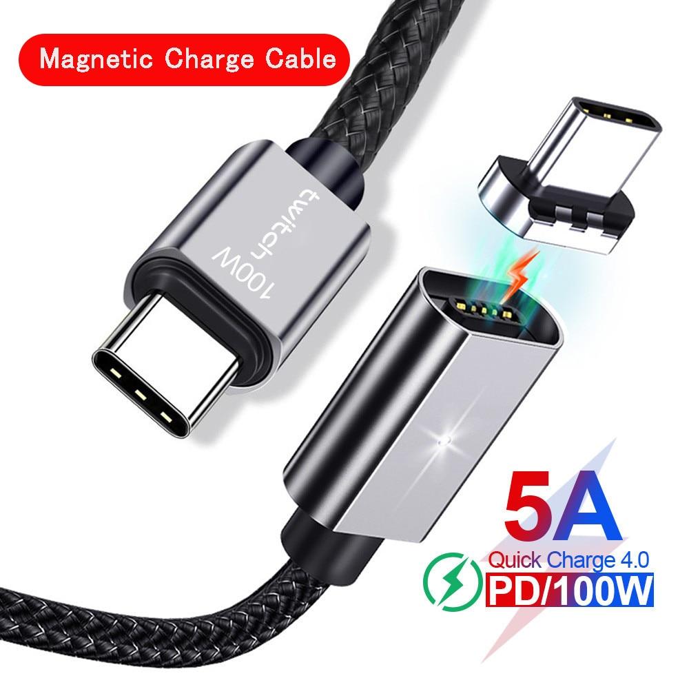 Магнитный зарядный кабель PINZHENG, 100 Вт, быстрая зарядка, кабель USB C-USB Type C для Samsung Redmi Note, быстрая зарядка для MacBook iPad