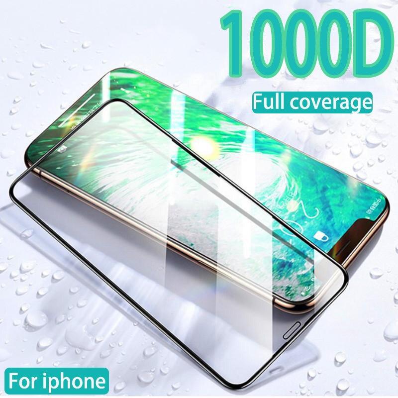 Vidrio templado curvo de cubierta completa para iPhone 11 12 Pro X XR XS MAX protector de pantalla para iPhone 6 6s 7 8 plus vidrio protector 12