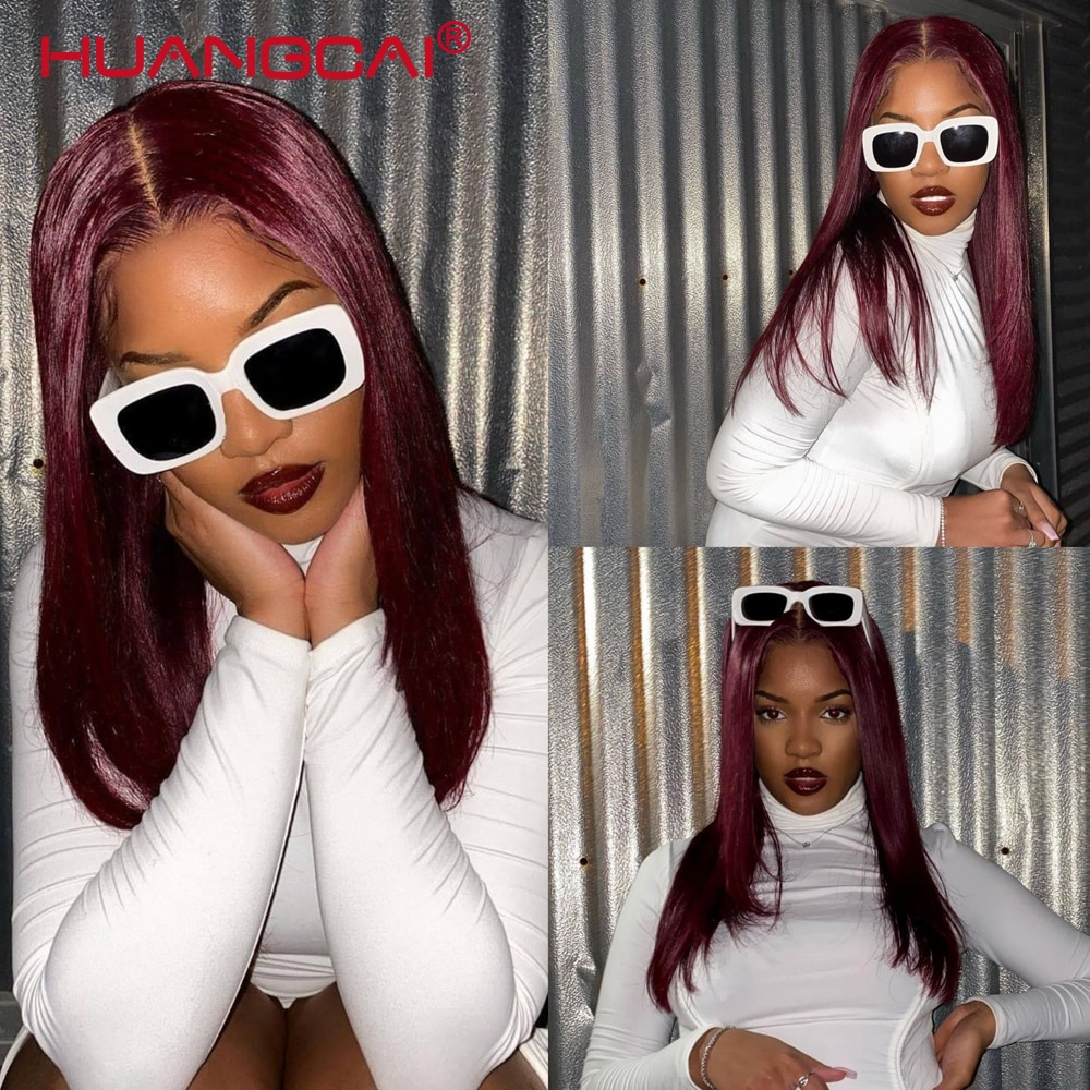 99j Red Brazilian Straight Colored Human Hair Middlle Part Lace Wigs Pre-Plucked 150% Density Remy Body and Curly wave For Women