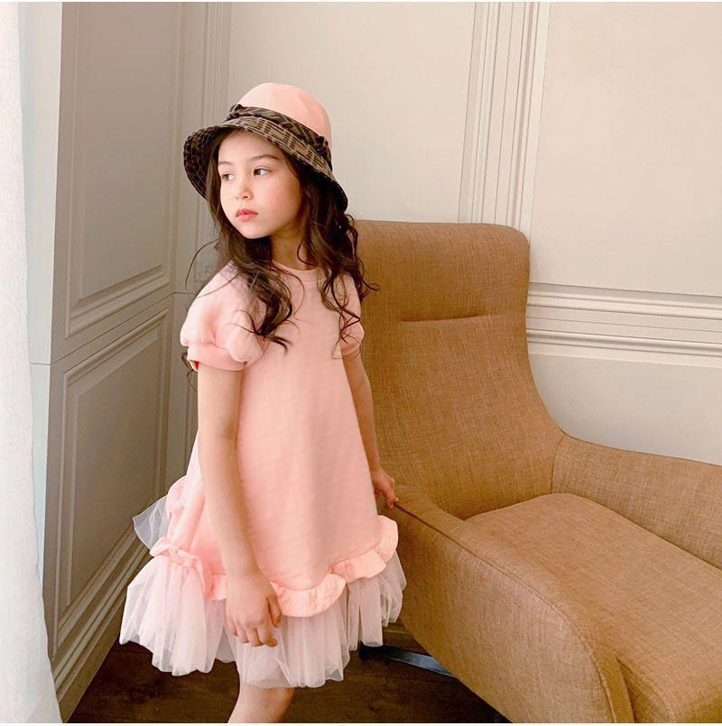 2021 Spring and Summer New Child Girl Pink Western Style Medium and Large Girls Mesh Short Sleeve Dress Princess Dress