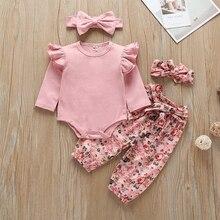 2020 Frühling Baumwolle Neugeborenen Floral Langarm Mädchen Infant Baby Romper + Hosen Kleidung