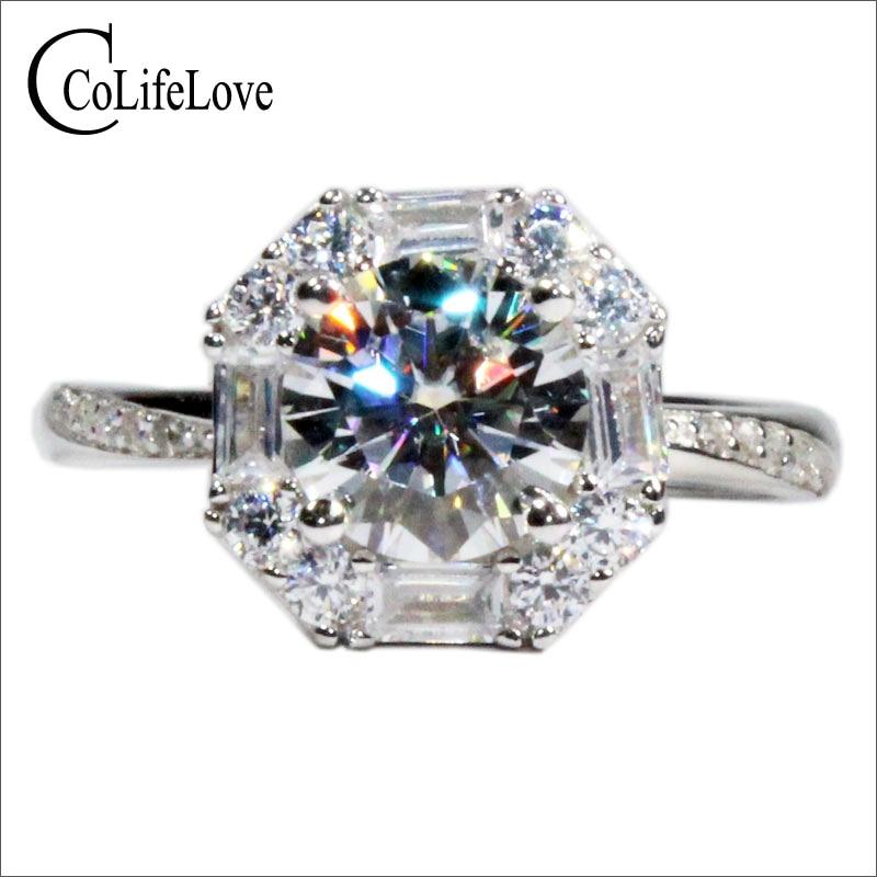 Anillo de compromiso de moissanita de plata 925 de CoLife Jewelry para bodas, anillo de plata de moissanita de Color F, joyería de moissanita