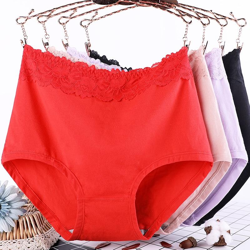 Calcinha de algodão plus size, lingerie feminina, cintura alta, macia, sexy, 1 peça xl ~ 6xl