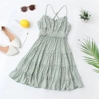 women summer slip dresses romantic green floral back corss spaghetti strap empire dress holiday look mini length one piece 2021