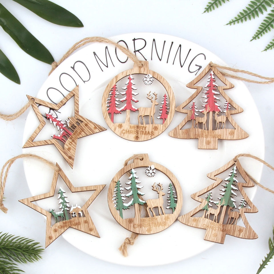 6PCS Vintage Hollow Christmas Star/Tree/Ball Wooden Pendants Tree Hanging Ornaments Christmas Crafts Tree Ornaments Decorations