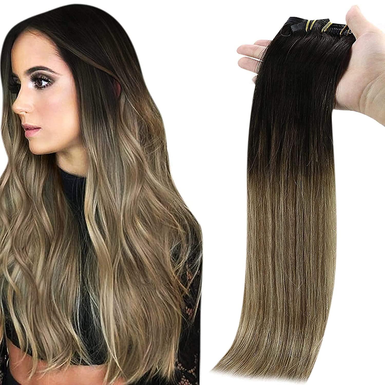 وصلات شعر ريمي طبيعية غير ملحومة مع مشبك للنساء ، شعر بشري ، لون أشقر مظلل ، 8 قطع ، 100 جرام