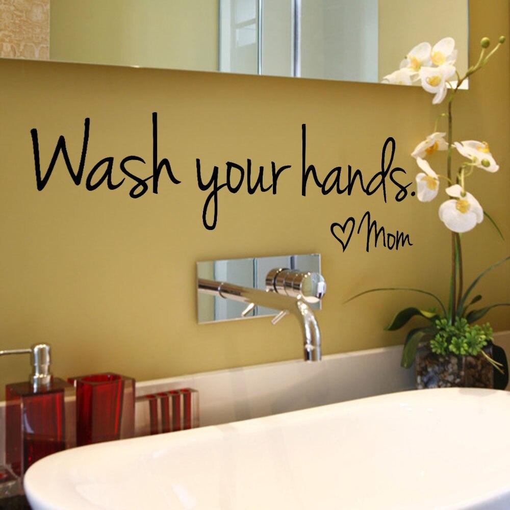 Pegatinas de pared de baño español francés alemán holandés-lavar tus manos amor mamá-arte resistente al agua vinilo calcomanía pared decoración de vidrio