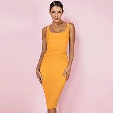 Ocstrade 2019 New Kendall Jenner Celebrity Bandage Dress Women Draped Orange Midi Bandage Dress Bodycon Sexy Evening Party Dress