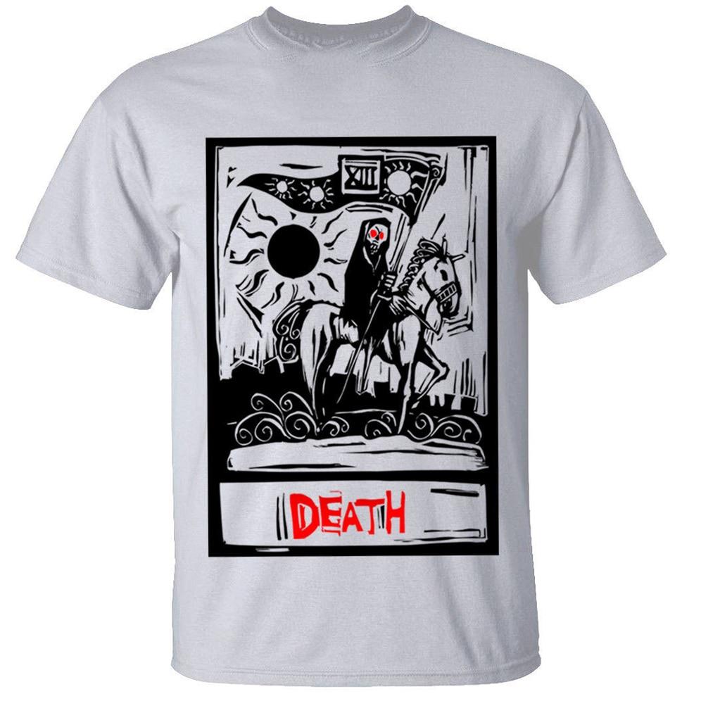 Death Tarot Card camiseta para hombre Goth Rock Grim Reaper gótico verano camiseta