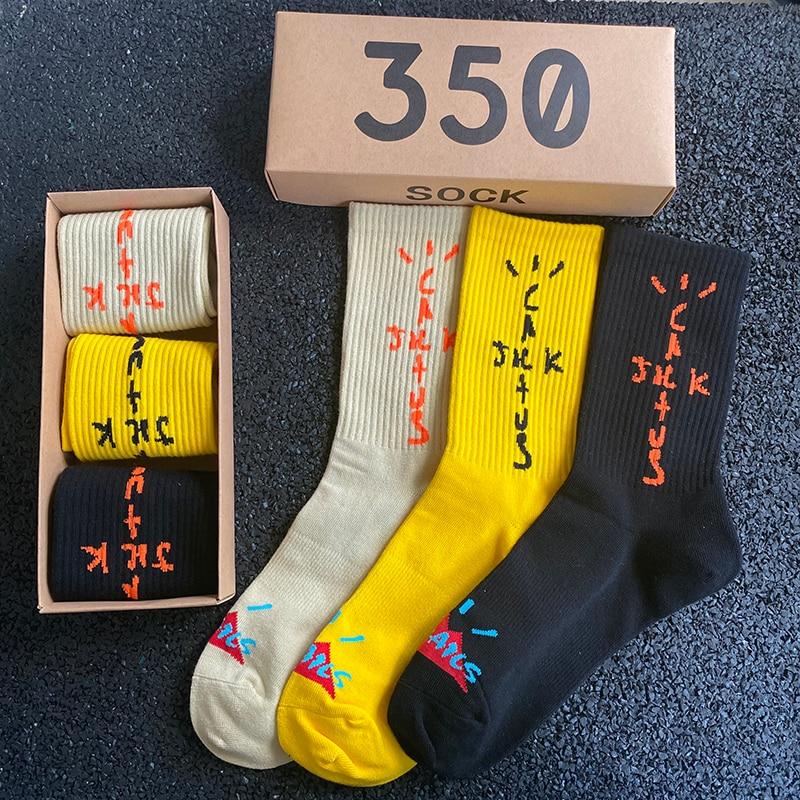 2021 New Socks Skate Crew Socks Men Sport Travis Scott Cactus Jack Bandanas Socks Streetwear Hip Hop 3 Pairs/box