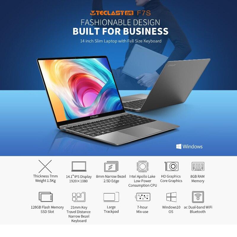 Teclast F7S Laptop 14.1 inch Intel Apollo Lake N3350 8GB RAM 128GB SSD Windows 10 Dual Wifi  Notebook PC 1920x1080 IPS Computer