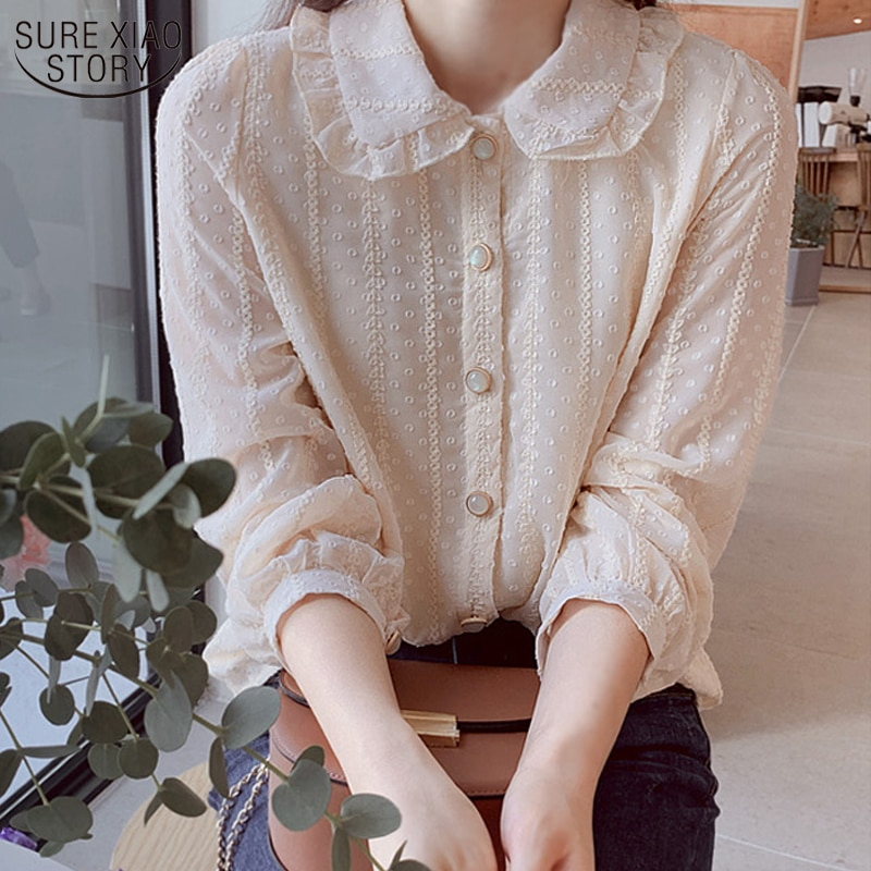 Printemps automne Style occidental poupée col fée en mousseline de soie Blouse à manches longues bureau femmes vêtements Blusas femmes dames chemise 10351