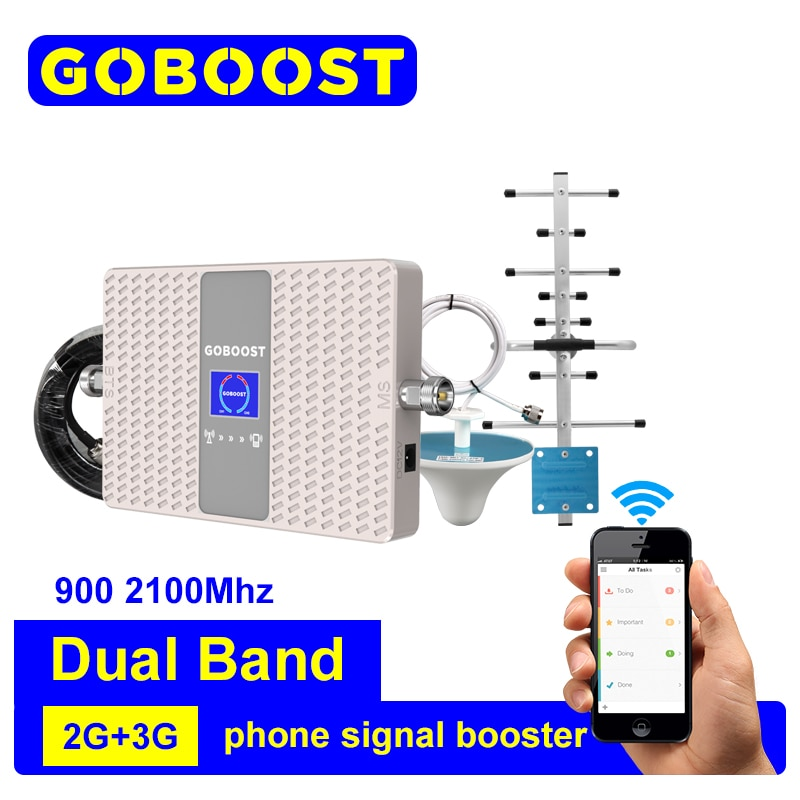 GOBOOST Celluar Amplifier Dual Band 900 2100 MHz Dual GSM WCDMA Cell Phone Signal Booster Ceiling Antenna Yagi Antenna Reapeater