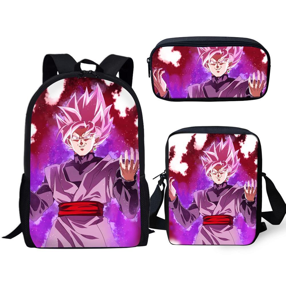 HaoYun Dragón-Bola-Z Super Broly bolsas de la escuela genial niños niñas Anime Ultra instinto la escuela mochila 3 unids/set niños bolsas de la escuela