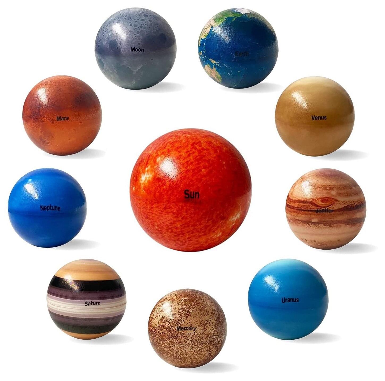 8 шт./компл., 6,3 см, планеты, луна, солнце, звезда, мяч, игрушка, красочный надувной спонж, эластичная печать, Звездный мяч, детские развивающие и...