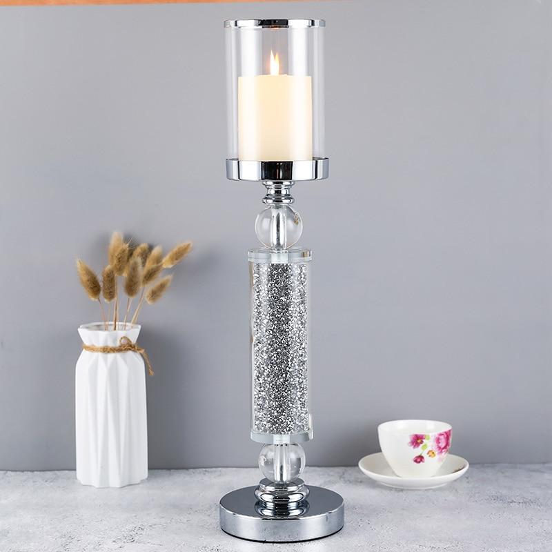 Europa style metal de diamantes de cristal   sostenedor de vela de mesita de comedor de Navidad de la boda de Halloween con cubierta CH101