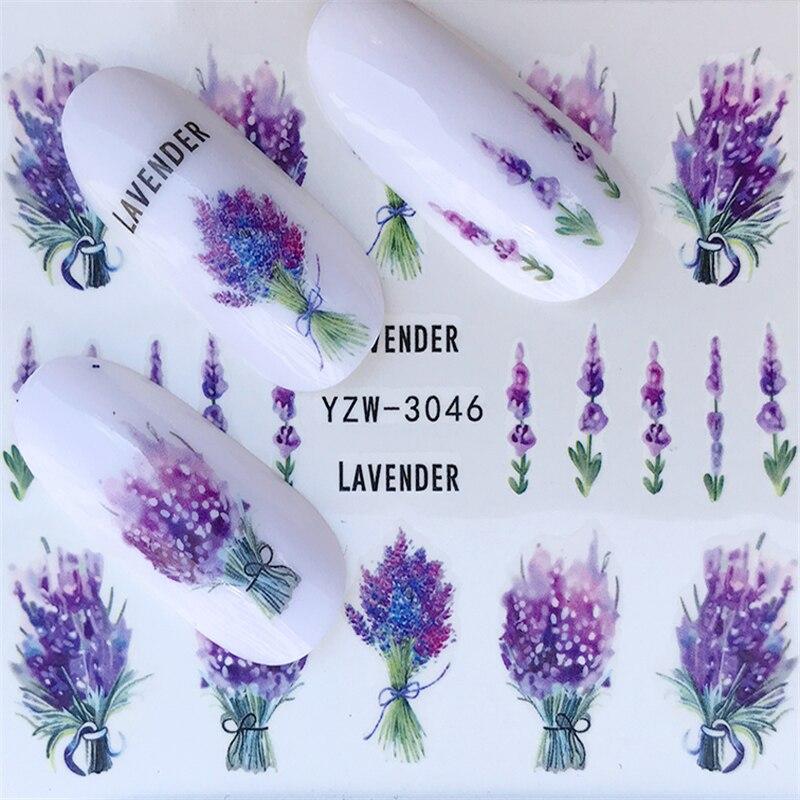 Pegatinas para uñas YZWLE, adhesivos para uñas con flores en flor, adhesivos para uñas lavanda, arte de uñas, pegatinas de transferencia al agua