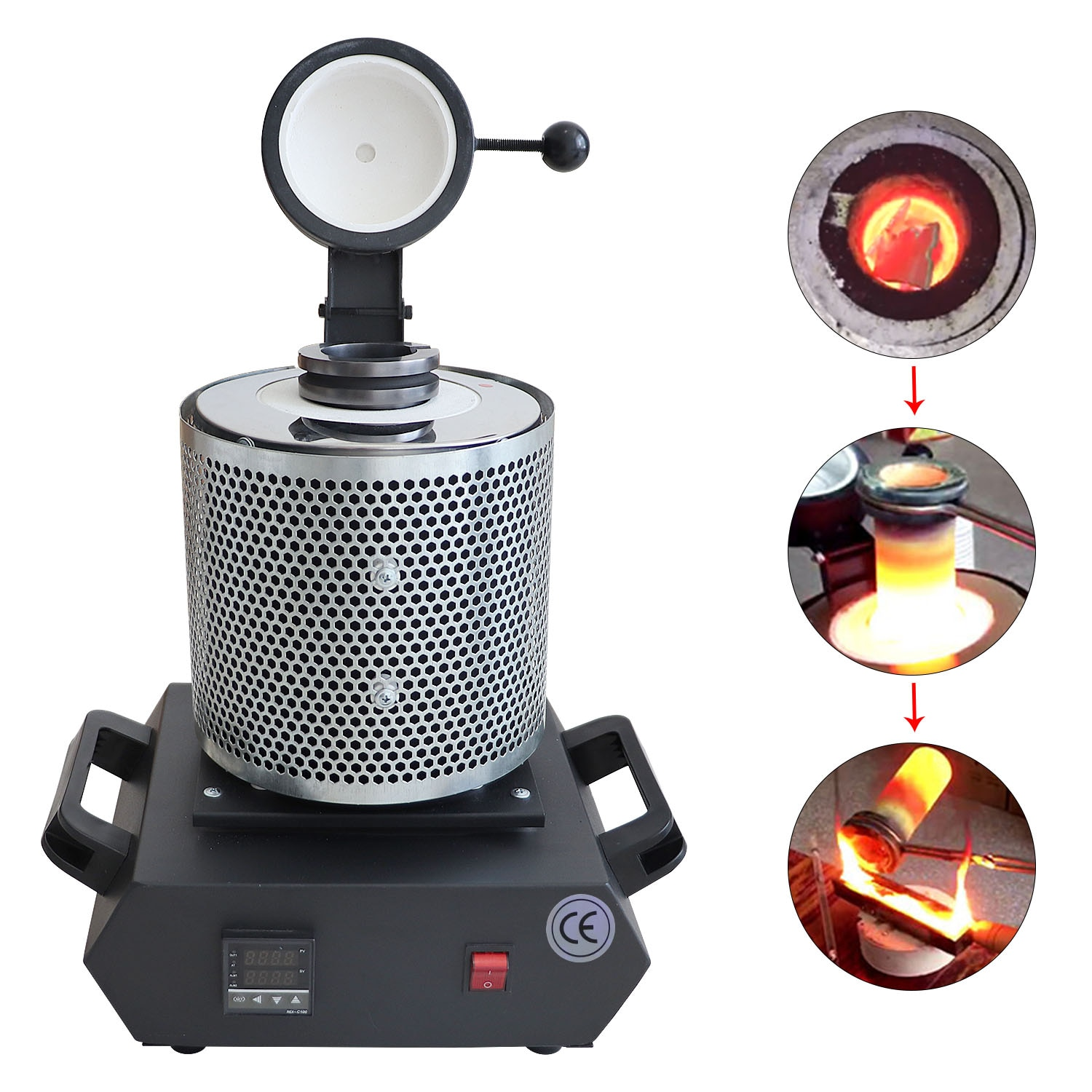 110V/220V New styles Melting Furnace With Net 1-3KG Portable Graphite Crucible Furnace High Temperature Small Metal Melting
