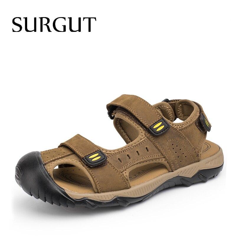 SURGUT-صندل من الجلد الطبيعي للرجال ، حذاء كاجوال مسامي ، جلد طبيعي ، للشاطئ ، مقاس كبير 38 ~ 48 ، للصيف ، 2021