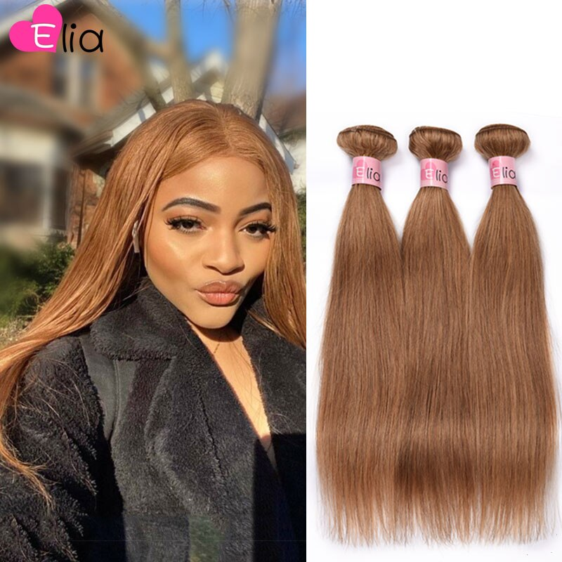 Lote para as Mulheres Elia Feixes Peruano Hetero Remy Hair Extensions 1 – 3 4 Pçs Negras 8 16 18 20 22 24 26 28 30 Polegada Cor 27