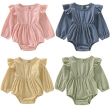 0-24M Toddler Baby Girl Solid Color Ruffle Romper Jumpsuit Long Sleeve Outfits Clothes