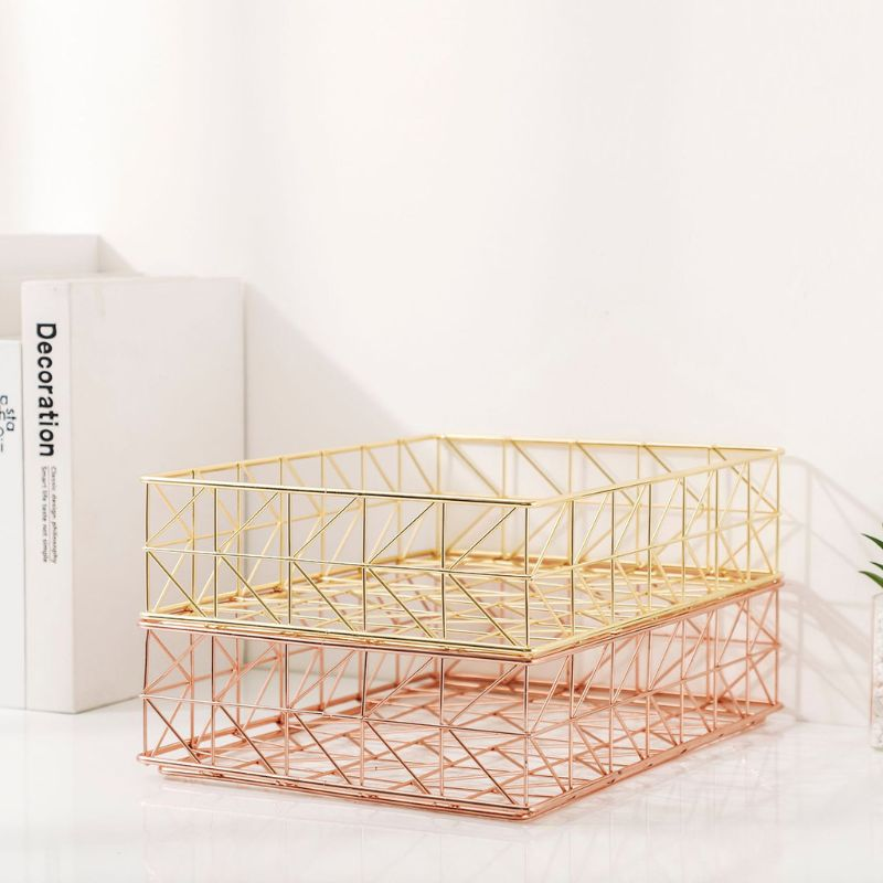 Nordic Wrought Iron Magazine Newspaper Storage Basket Desktop Sundries Organizer