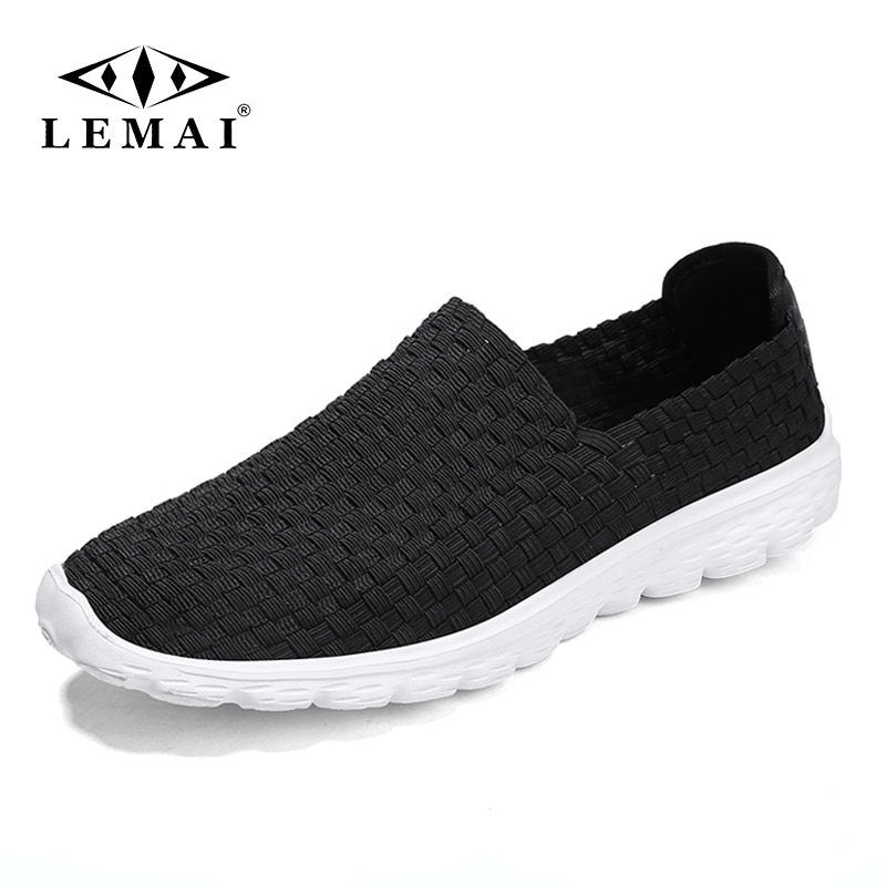LEMAI Woven Men's Casual Shoes Men Summer Mesh Flats Loafer Comfortable Breathable Sports Running Sneakers for Man and Women