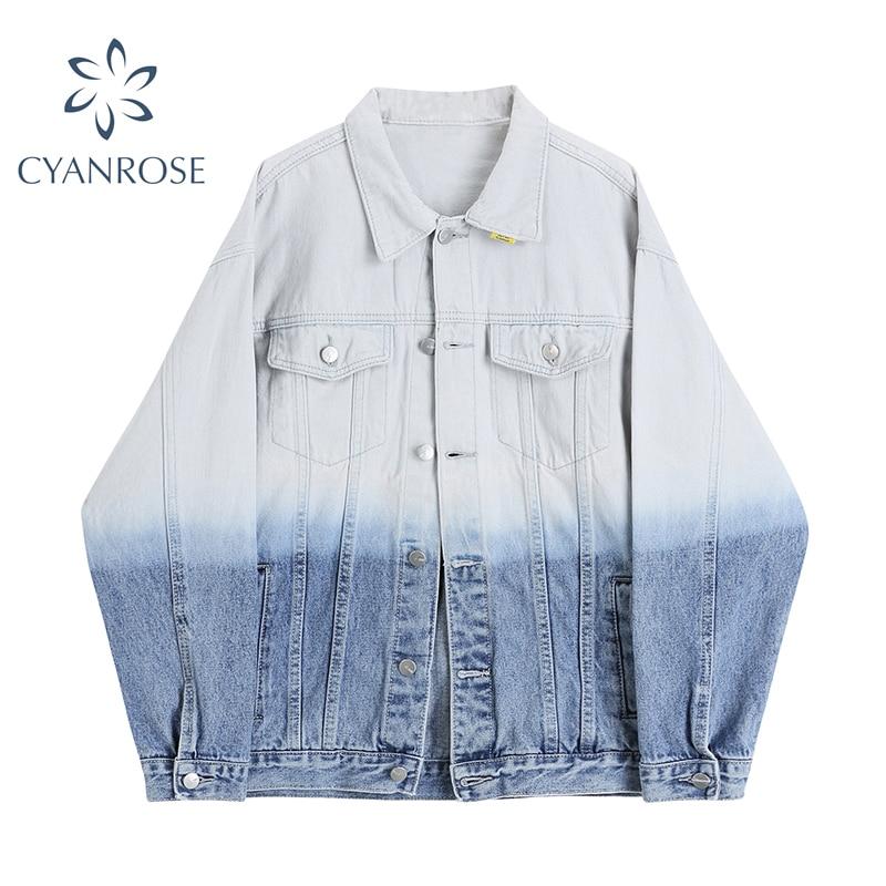 Denim Jacket Women High Street Fashion Single Breasted Pocket Y2K Quality Loose Streetwear Gradient