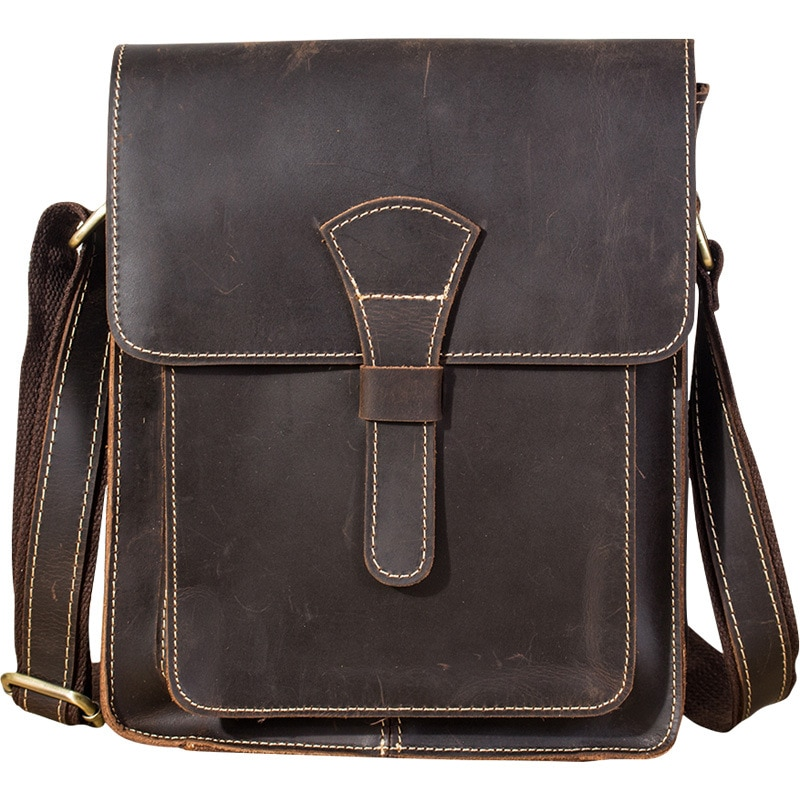 Men Bag for iPad Genuine Leather Handbag Shoulder Bag for Men Vintage Crazy Casual Messenger Business Male Travel Cross Body Bag