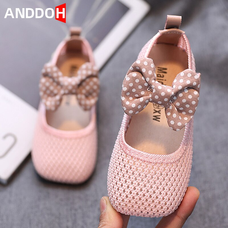 Size 22-31 Girls Soft Bottom Bow Princess Shoes Baby Breathable Wear-resistant Sandals Children Sandals with Anti-slippery