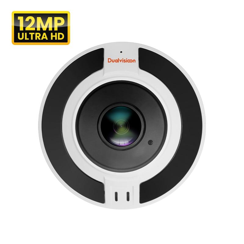 الأشعة تحت الحمراء للرؤية الليلية شبكة poe الأمن عين السمكة عدسة الكاميرا 12mp في الهواء الطلق 360 درجة رؤية بانورامية p2p قبة CCTV فيش كاميرا IP