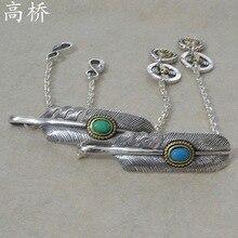 Hand Diy Creative Turquoise Takahashi Kagura goros Feather Bracelet Simple Men Women Couple Sterling Silver Bracelet Jewelry