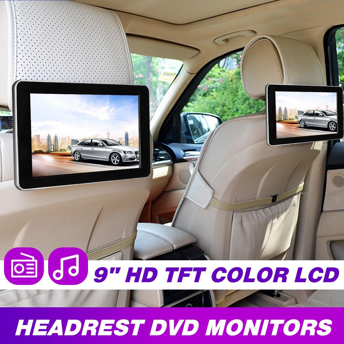 9 дюймов Автомобильный HD подголовник аудио монитор TFT цветной ЖК-дисплей цифровой экран AV вход радио Поддержка резервного копирования камеры DVD плеер