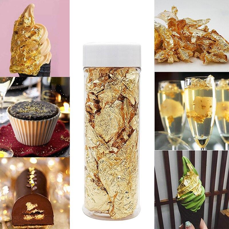 1 garrafa decorativa folha de ouro flocos 2/3g ouro prata confetes diy unha arte paiting materiais decoração folha papel festa supplie