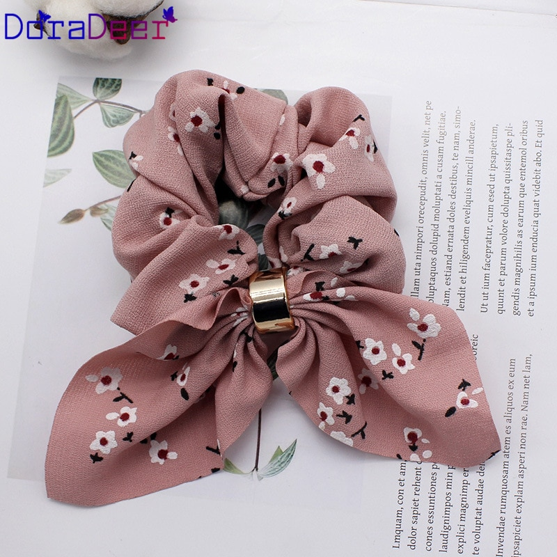 DoraDeer Scrunchie Girls Floral Hair Accessories Women Blue Bandanas Elegant Ponytail Holder Hair Band Headbands Hair Bands Lady